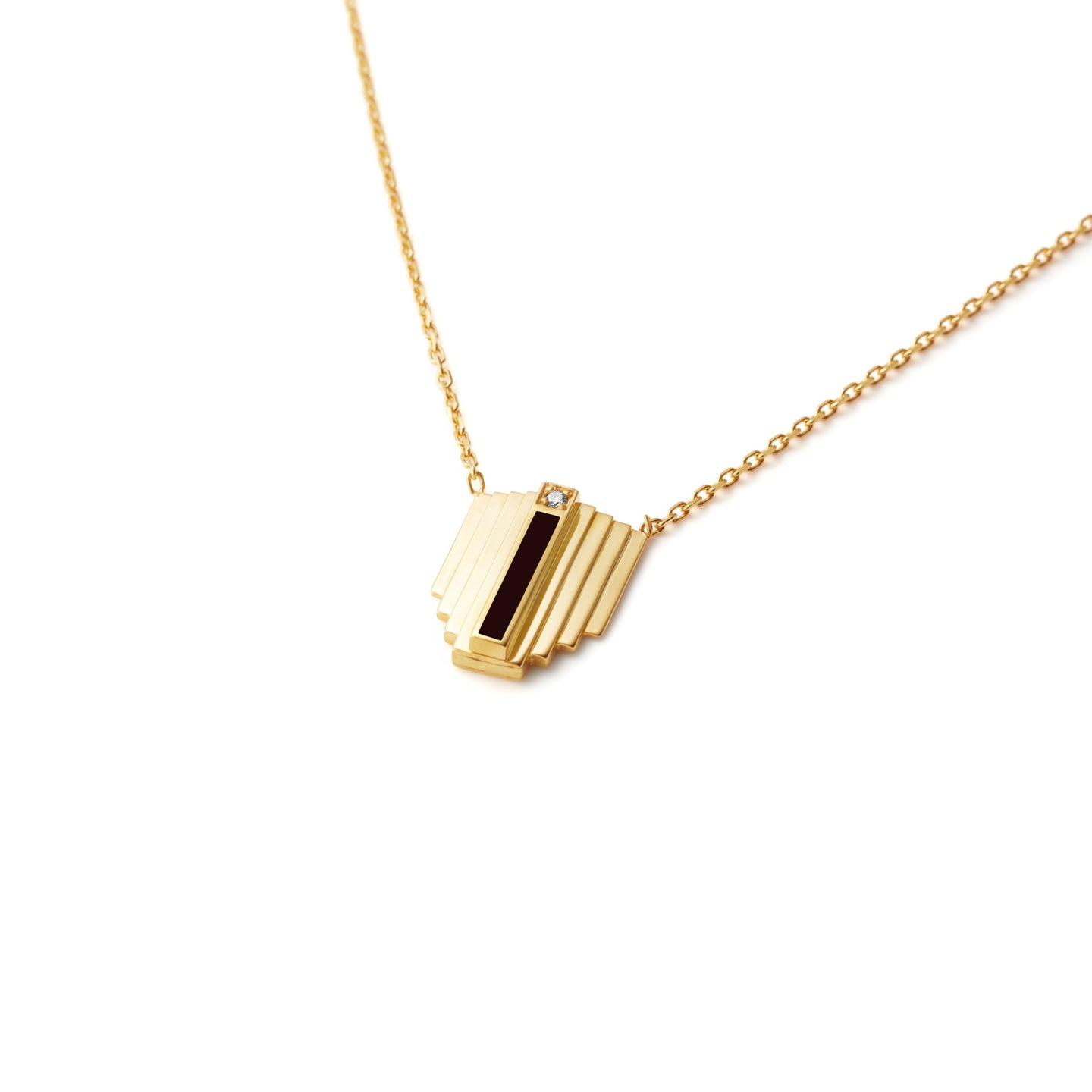 Gold Corbusier Diamond Necklace with Black Enamel