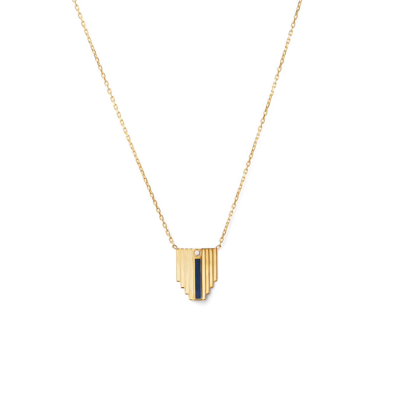 Corbusier Diamond Necklace in Gold Vermeil and Navy Blue Enamel