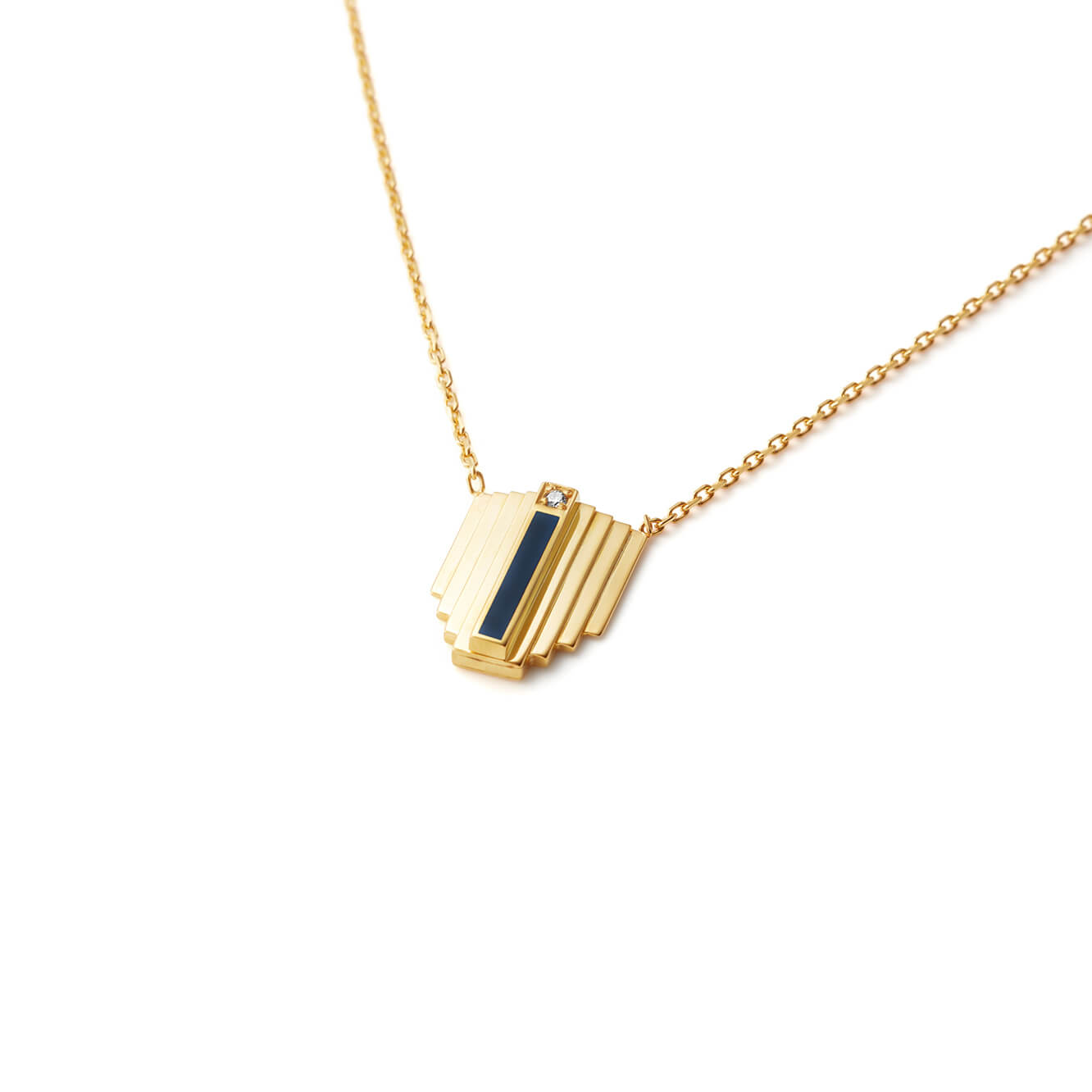 Dark Blue Corbusier Diamond Necklace | 18kt Gold Vermeil | Motley x Melis Goral | Product Shot 1