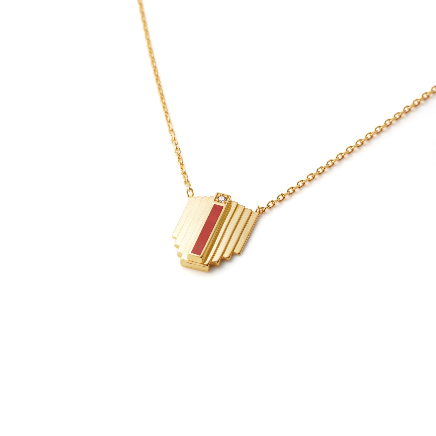 Gold Corbusier Diamond Necklace with Coral Enamel