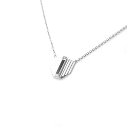 Silver Corbusier Diamond Necklace with Black Enamel