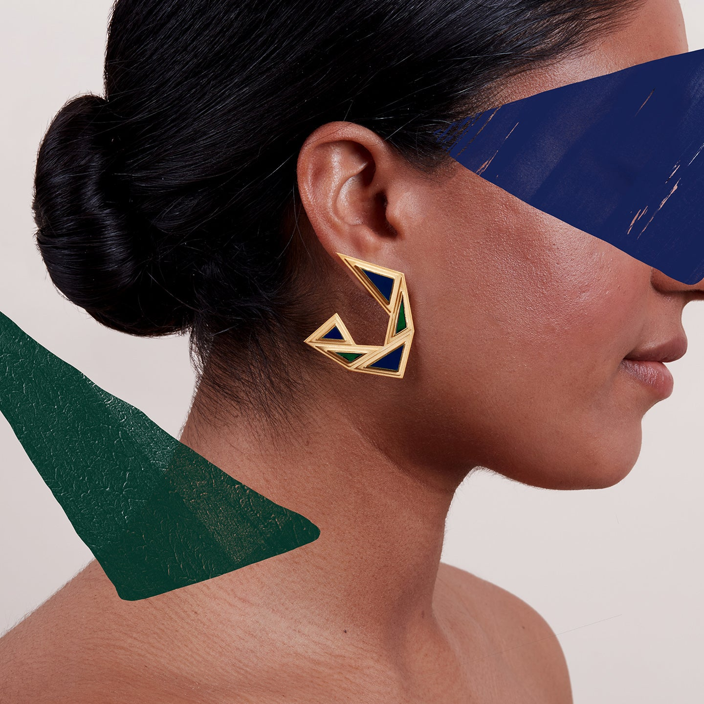 Erté Earrings in Gold Vermeil and Navy Blue Enamel
