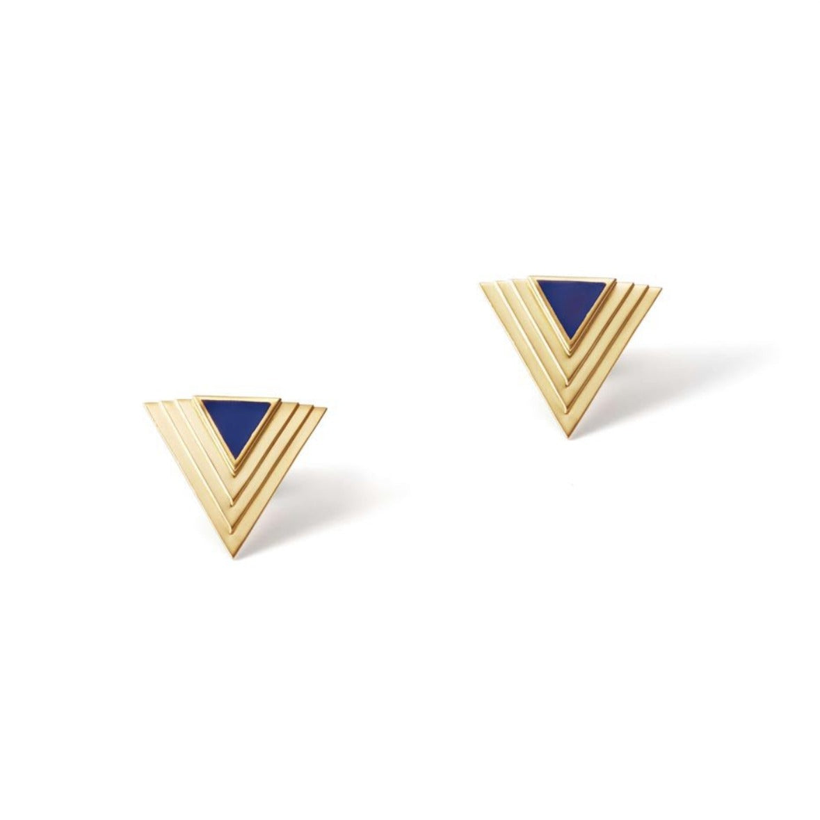 Navy Blue Lalique Deco Stud Earrings | 18kt Gold Vermeil | Motley x Melis Goral | Product Shot 1
