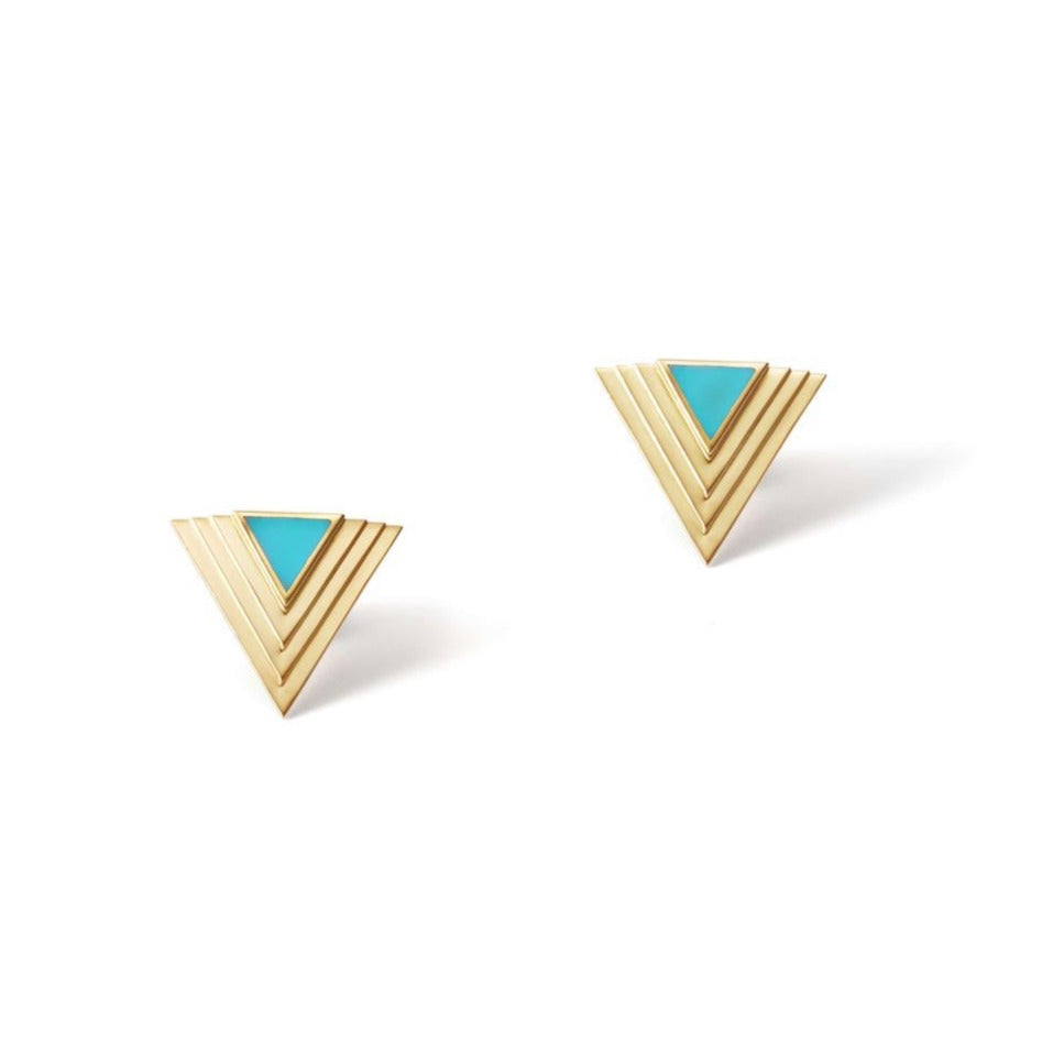 Gold Lalique Deco Stud Earrings with Turquoise Enamel