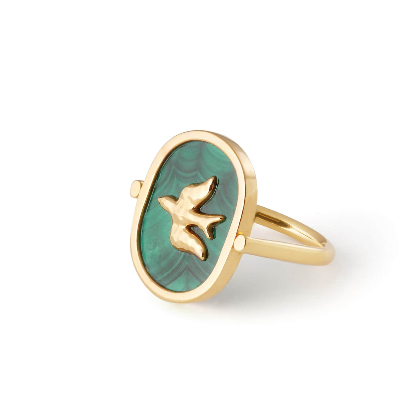 Green Malachite L'Oiseau Ring | 18kt Gold Vermeil | Motley x Estelle Dévé | Product Shot 1