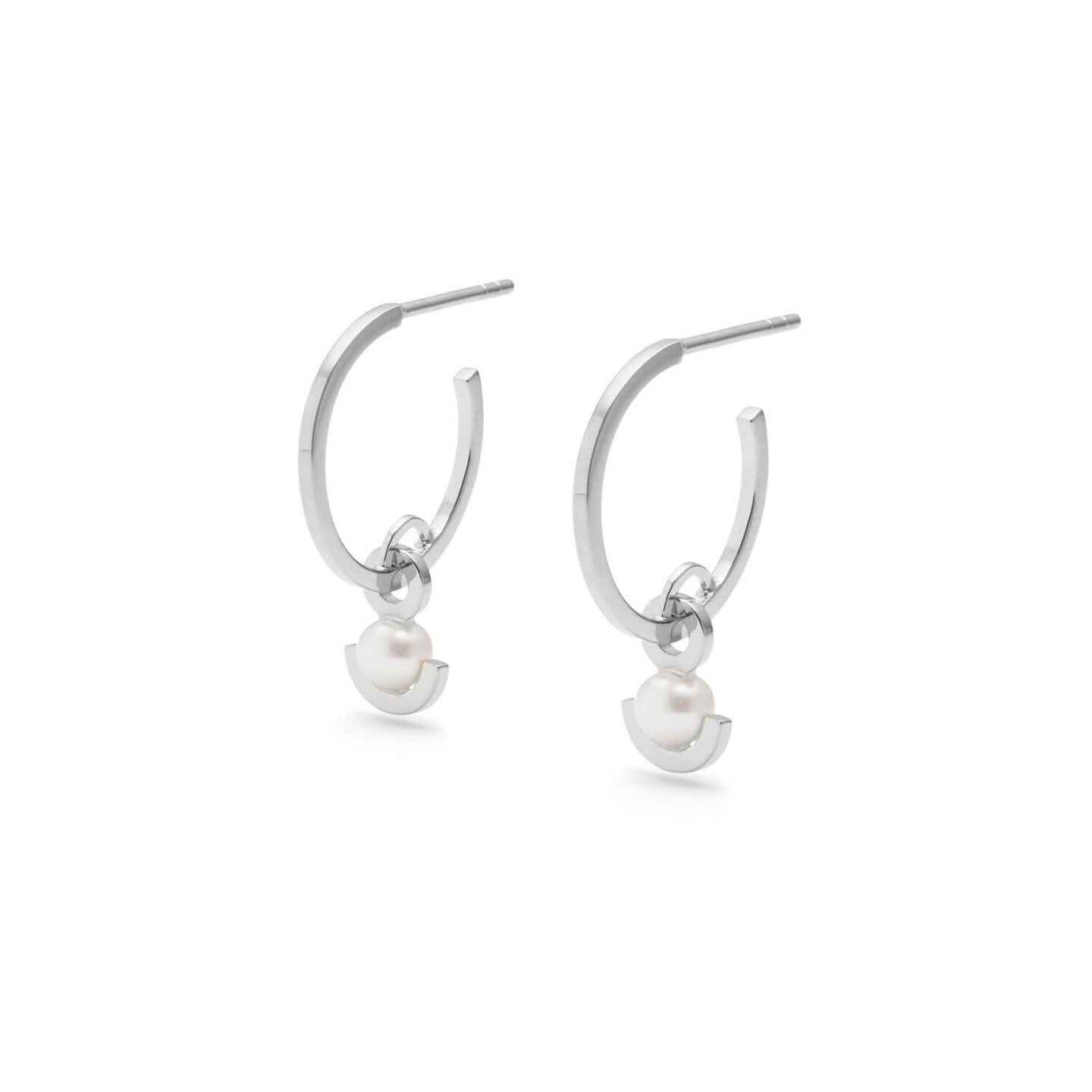 Silver Half Moon Pearl Earrings | Sterling Silver | Motley x Anonymous | Product Shot 1