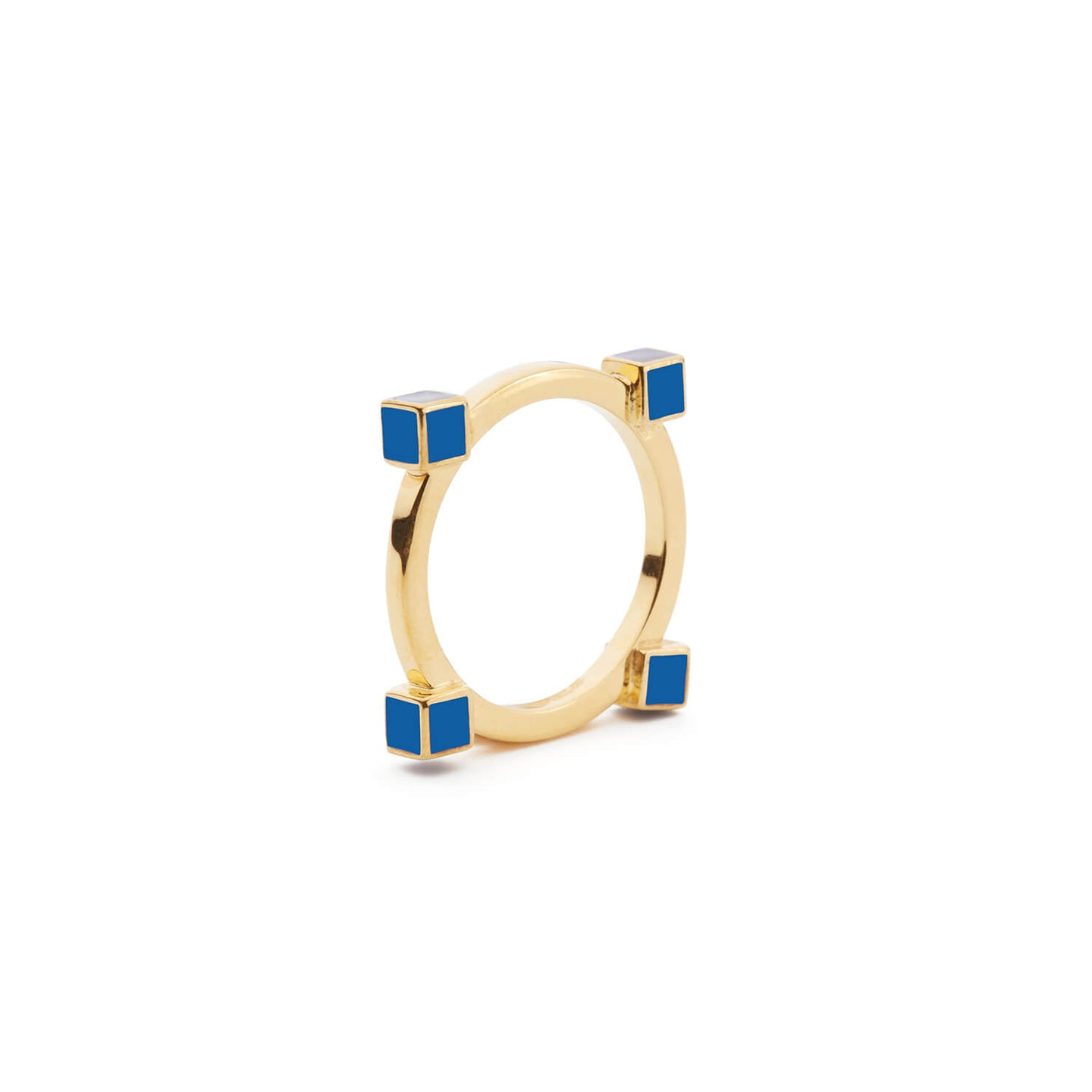 Gold Angel, Islington Ring with Blue Enamel