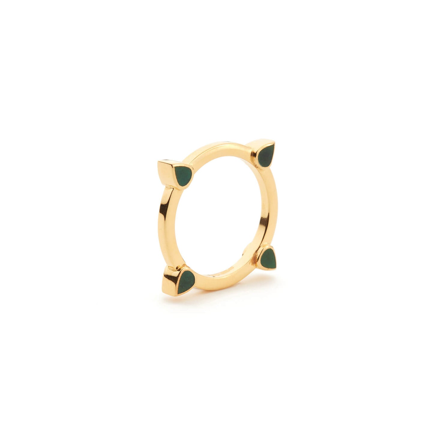 Gold Bond Street Ring with Green Enamel