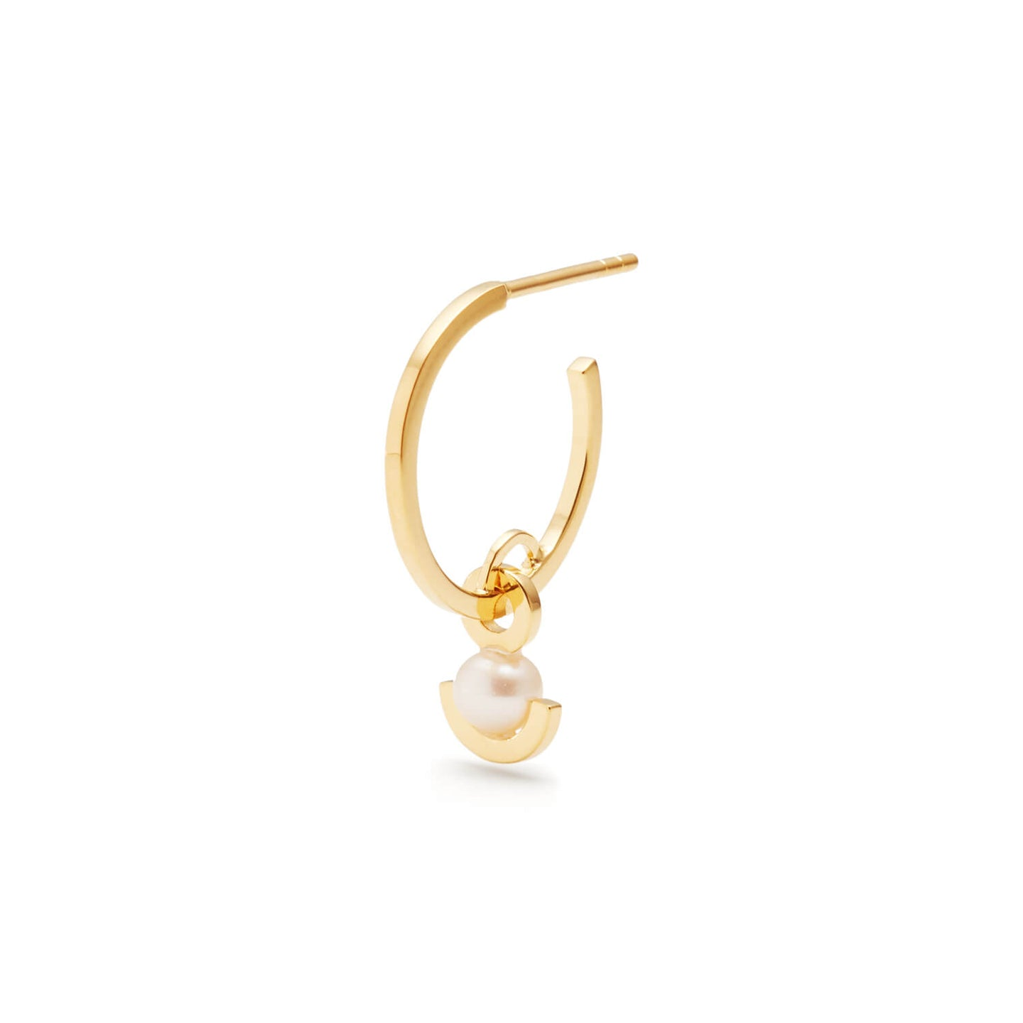 Gold Half Moon Pearl Earrings