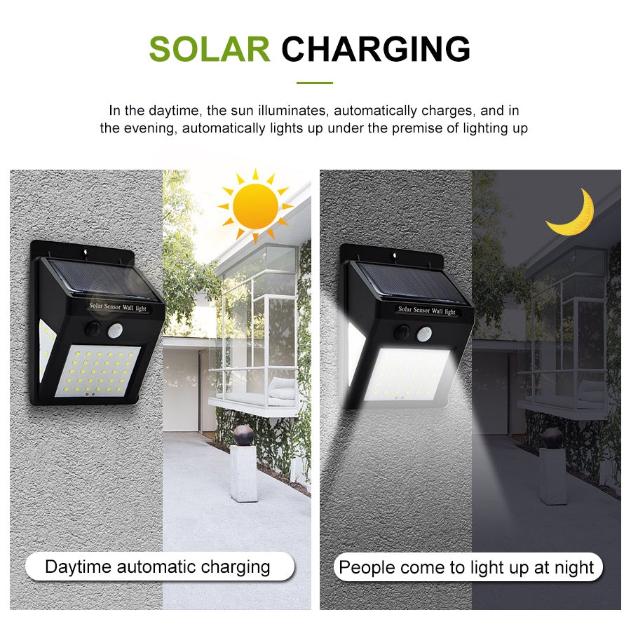 Solar-Powered Motion Sensor Security Light - No Wiring Needed, Easy Installations