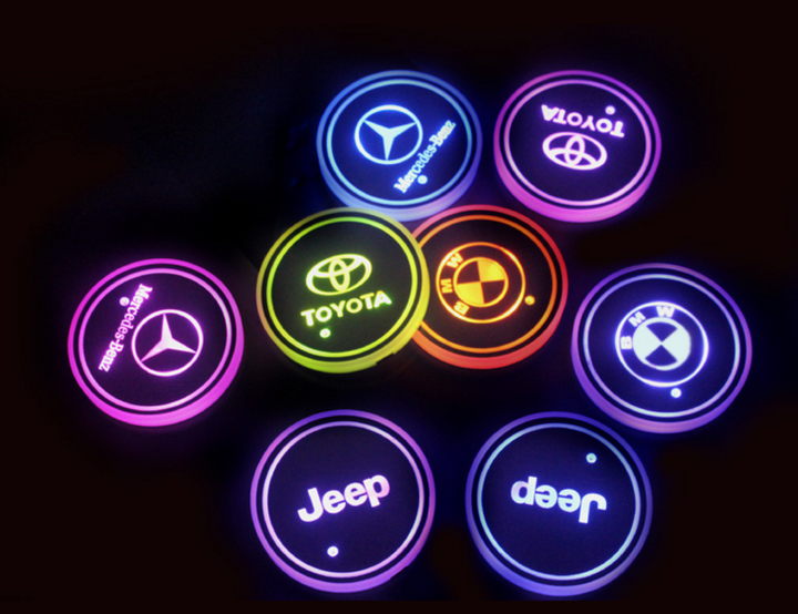 Led Car Logo Cup Lights up Holder USB Charging 7 Colors Changing (2 PCS)