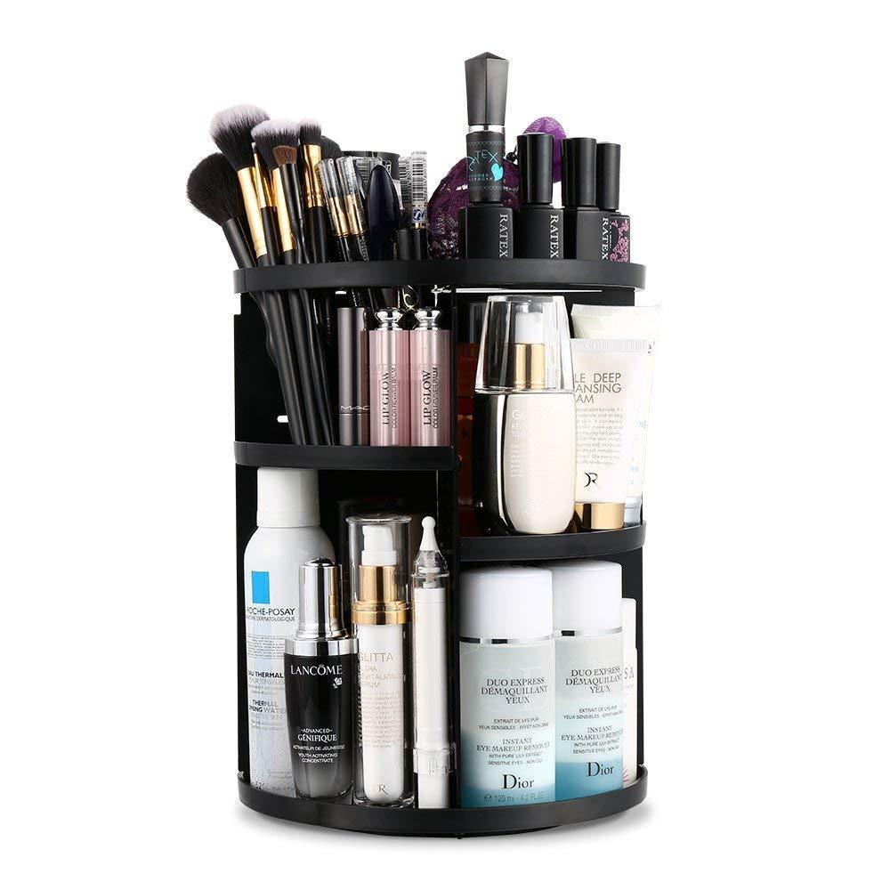 360 Degree Rotation Makeup Organizer Adjustable Multi-Function Cosmetic Storage Box