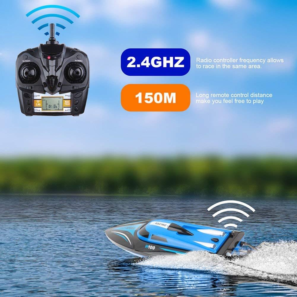 RC Boat 2.4GHz 4 Channels Remote Control Electric Racing Boat 25KM/H High Speed Transmitter with LCD Screen 100