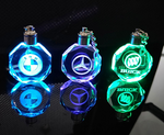 Laser Engraved Crystal Car Logos Key Chain Glass Changing Color Light Keychain Hanging Pendant Gift