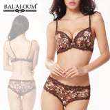 Balaloum Women Bra Set Plus Size 75D 80D 85D 90D Lace Satin Silk Lingerie D Full Cup Big Underwear Push Up Bra Brief Sets Luxury