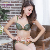 PAERLAN Chest Gather Sexy Lingerie Front Buckle Without Steel Ring Green Camouflage Female Sexy Bra Sets No Trace Vest-style