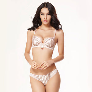 BALALOUM Sexy Women Shell Stripe Rhinestone Push Up Bra Panty Sets Brassiere Underwear Lingerie Set Seamless T Back Thongs Soft