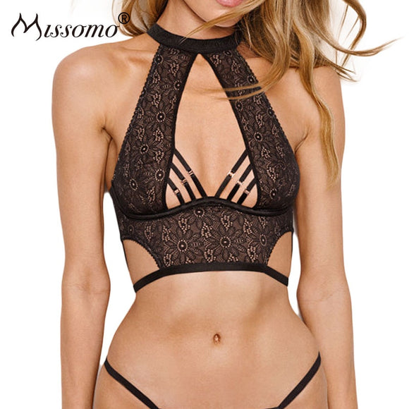 Missomo Women Sexy Cross Halter Lace Sheer Floral Mesh Bra Bralette Transparent Brassiere Silk Plus Size Female Lingerie