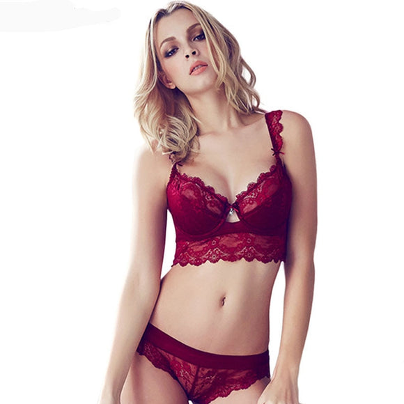 OUDOMILAI 2018 Fashion Women Sexy Bra Set Lace Underwear Padded Push up Bra Panties Set Red Black Plus size Female Lingerie Set