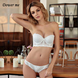 Dower me Sexy Lace Bras sets Seamless Back Closure Wire Free Underwear suit Black Red White Adjustable ventilate Lingerie AWR004