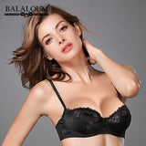 BALALOUM Women Bra Sexy Floral Lace Transparent Ultra Thin Bowknot Brassiere Push Up Demi Cup Lingerie Underwear Black Red Pink