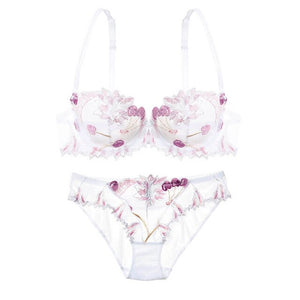 LILYMODA New Women Lace Transparent Ultrathin Bra Brassiere Sets For Female Cherry Embroidery Underwear Sexy Erotic Lingerie