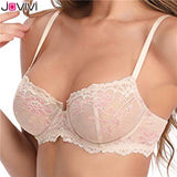 Jovivi 1pc Fashion Style Womens Lace Bra Sheer Sexy Bra Non Padded Underwired Unlined Ladies Bra Black / Nude Color Optioanl