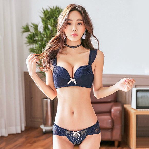 2018 Wire Free Push Up Lace Sexy Bra Set 3/4 Cup 70/85 AB Cup Three Hooks Floral White Black Lingerie Set Underwear Women Set