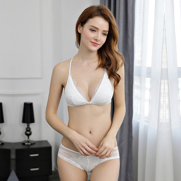 New 2019 Women Lingerie Female Set White Lingerie Conjunto Wire Free Underwear Set Womens Black Erotic Lingerie Lenceria S-XL
