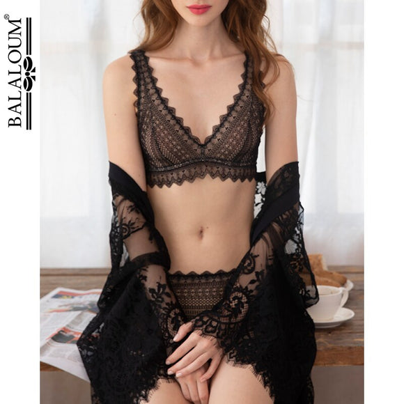 BALALOUM New Arrivals Women Sexy Chic Fashion Bralette Bra Brassiere Sets Soft Lace Wireless Underwear Female Lingerie Black