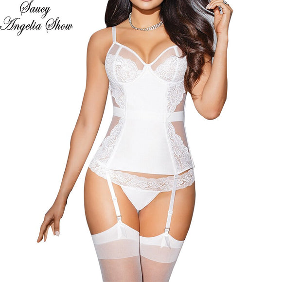 SAUCY ANGELIA Women Waist Trainer White Sexy Push Up Hooked Satin Lace Trim Corsets Tights Lingeries Shapewear Body Tummy Shaper