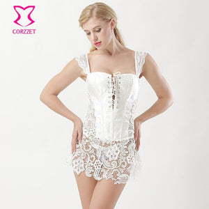 Victorian Hollow Out Lace Tight Lacing Corset Brocade White Wedding Corselet Plus Size Lingerie 6XL Sexy Corsets And Bustiers