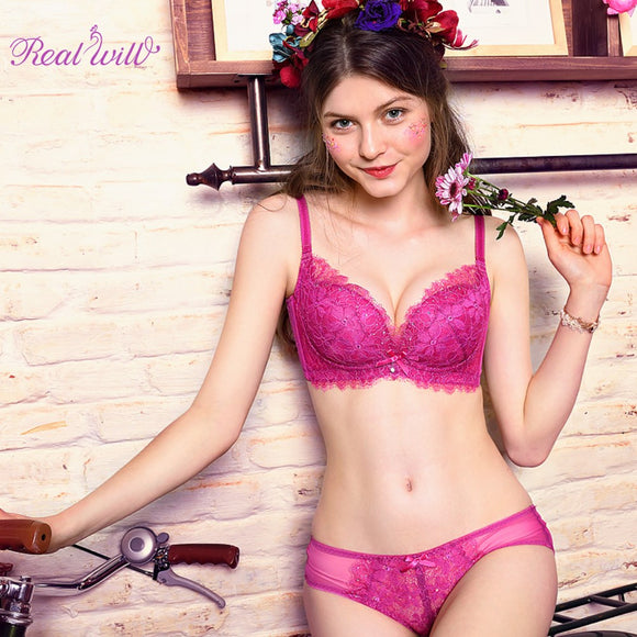 Realwill Purple Women Lingerie Set Lace Brief Bra Set Intimates Bra Woman Underwear Set Sexy