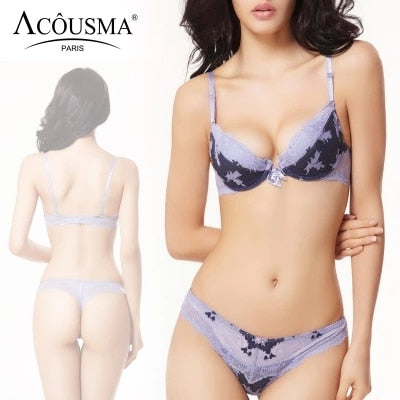 ACOUSMA Women Sexy Bra and Panty Set Floral Lace Bowknot 3/4 Cup Push Up Female Lingerie With Seamless T Back Thongs 8 Colors