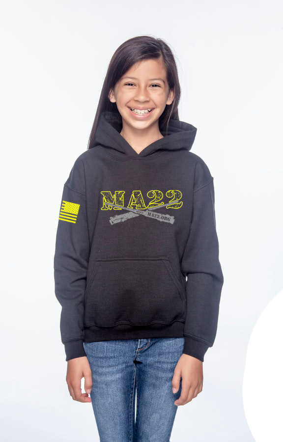 YOUTH -  MA22 hooded Sweatshirt - Black OPS & REDFRIDAY - kids size