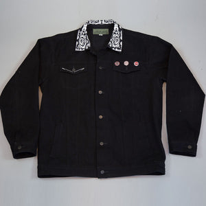 Triple Black Denim Pit Jacket
