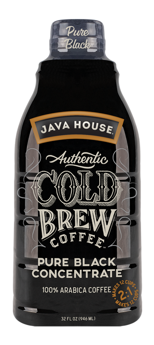 JAVA HOUSE® Authentic Cold Brew Coffee  |  Pure 2:1 Concentrate  |  32-oz Bottle