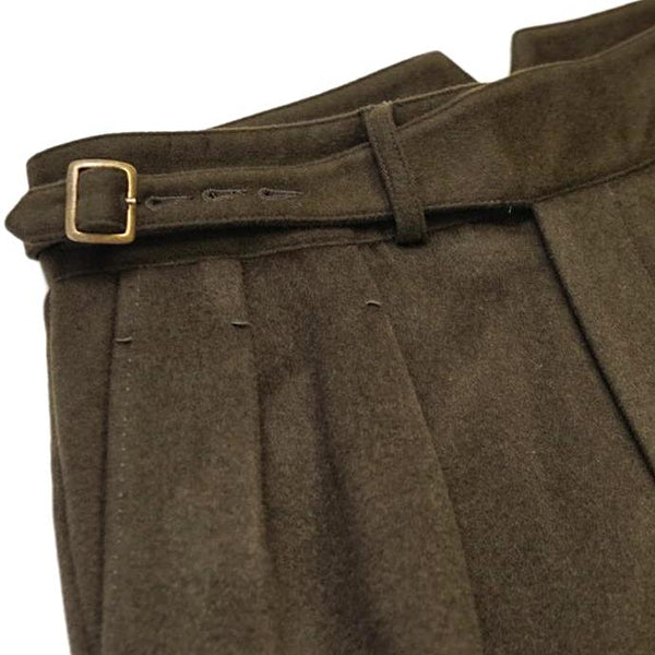 Olive Winter Flannel Gurkha Trousers