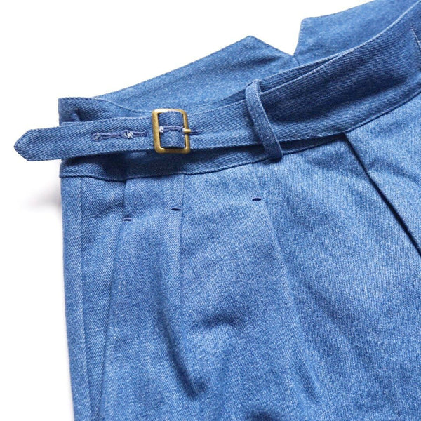 Stonewashed Japanese Denim Gurkha Trousers