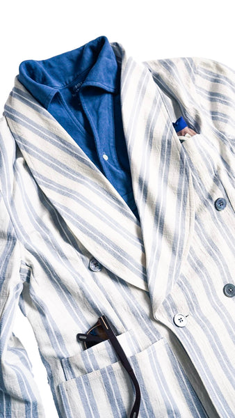 Off-White Elkann Double Breasted Shawl Collar Blazer By CORTINA