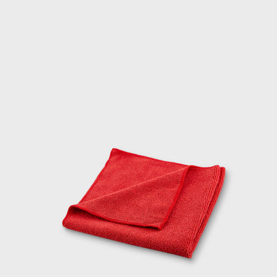 red microfibre work cloth to scale grey background