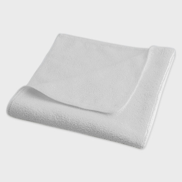 white microfibre work cloth grey background