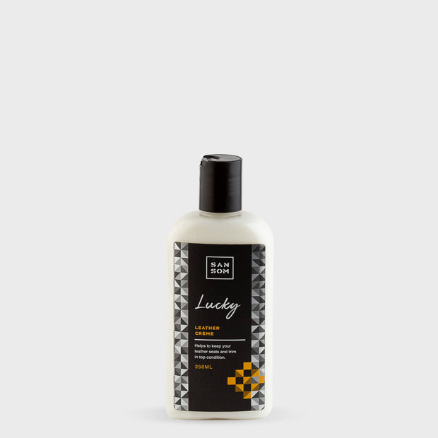 Lucky Leather Creme 250ml grey background