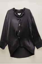 Black Mandarin Collar Silk Blouse