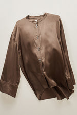 Chocolate Mandarin Collar Silk Blouse