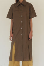 Cotton Shirt Dress with Spilts