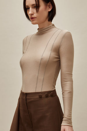 Brown Lyocell Essential Turtleneck