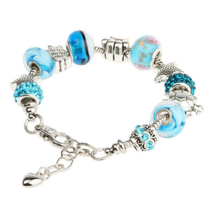 Glass Bead Charm Bracelet