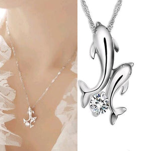 Platinum-Plated Double Dolphin Necklace