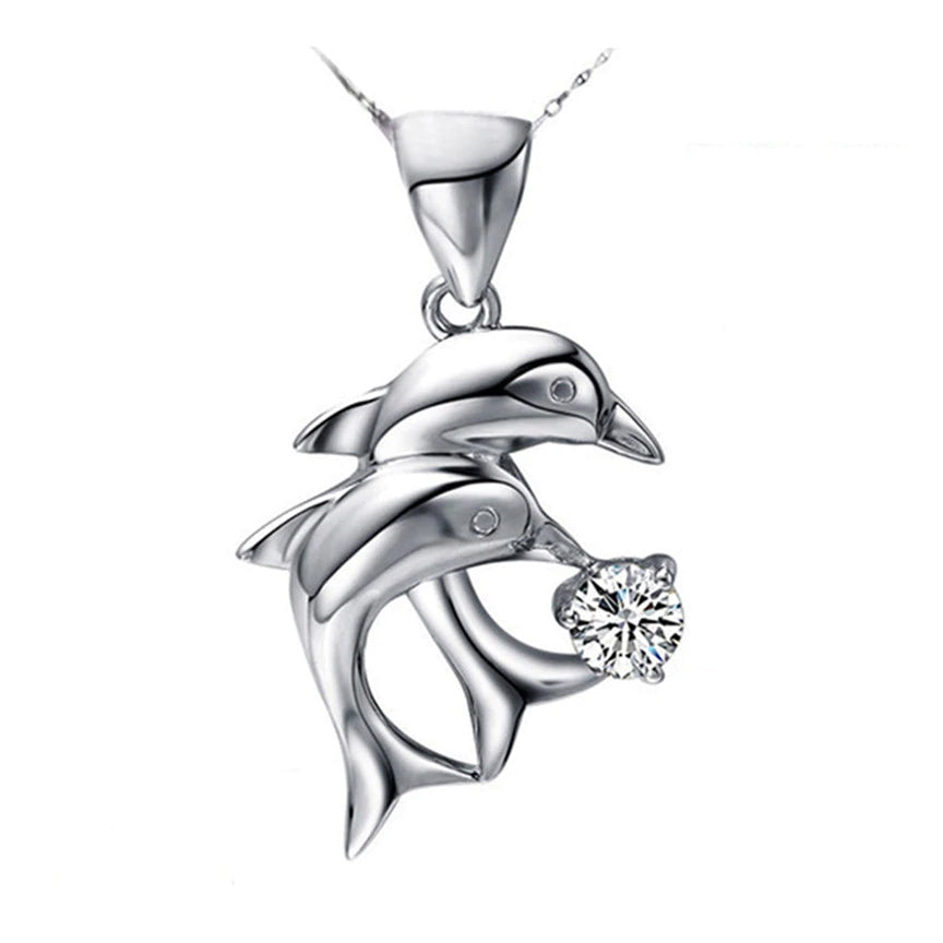 Jumping Double Dolphin Necklace